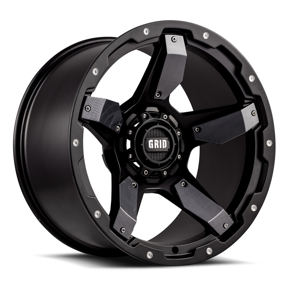 Grid Offroad GD4 Matte Black with Carbon Fiber Inserts Finish Wheels