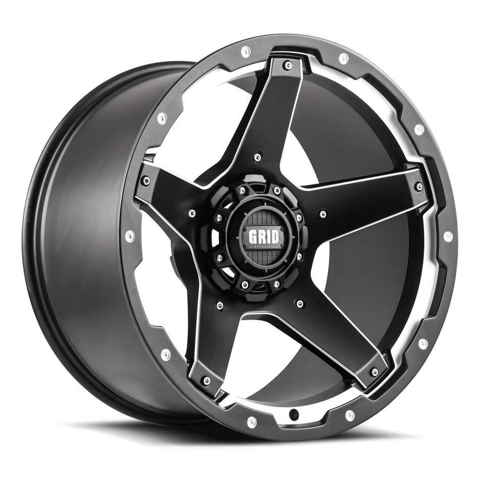 Grid Offroad GD4 Matte Black and Machined Edge Finish Wheels