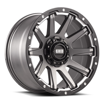Grid Offroad GD5 Hyper Silver with Black Lip Finish Wheels