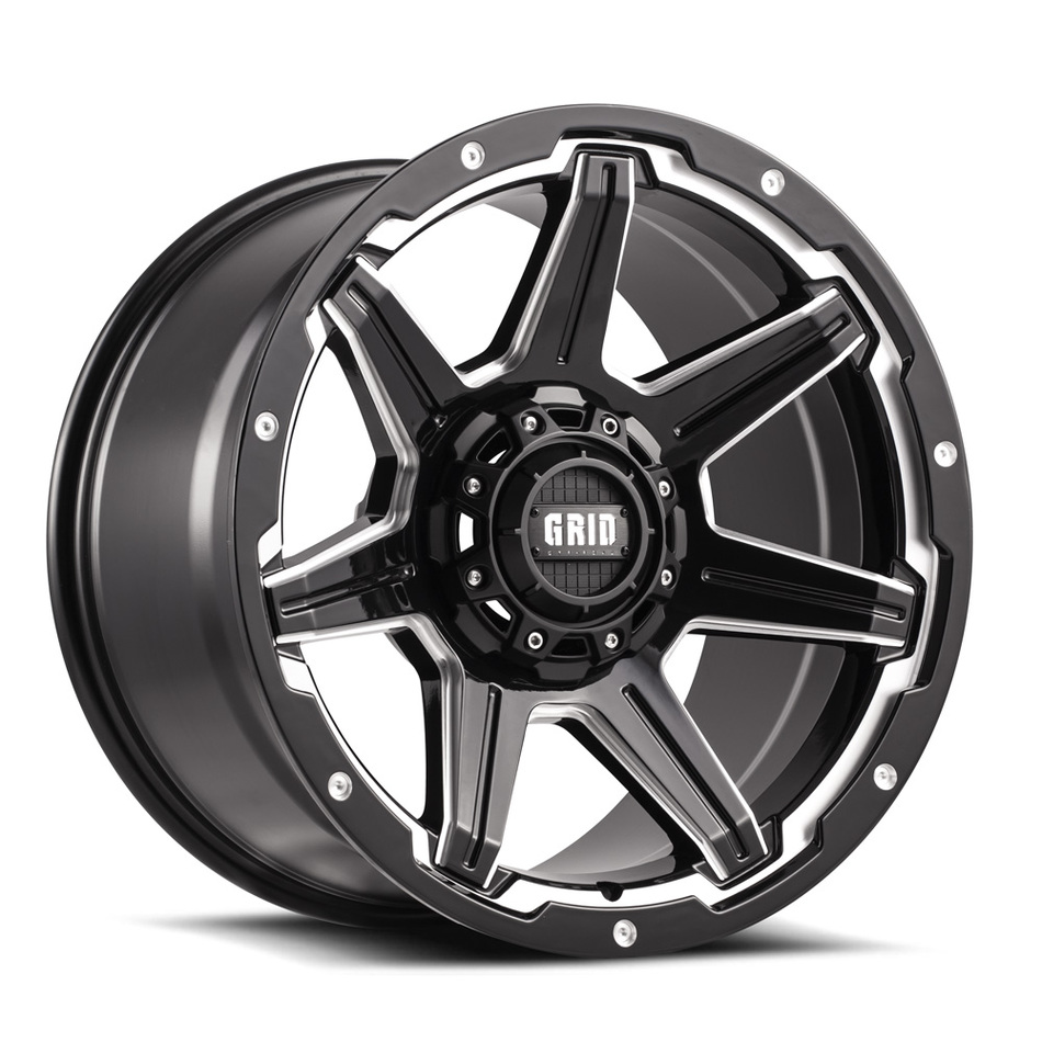 Grid Offroad GD6 Gloss Black with Machined Edge Finish Wheels