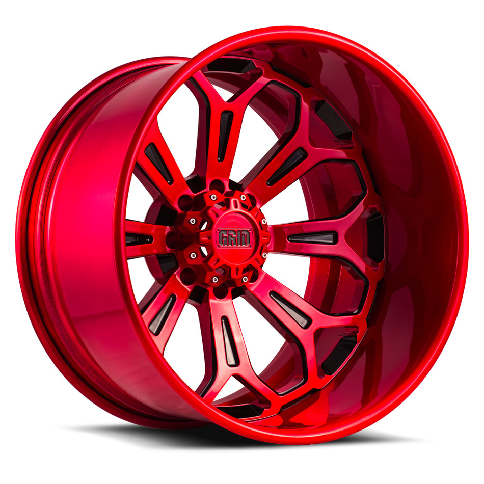 Grid Offroad GF3 Custom Red and Black Finish Wheels