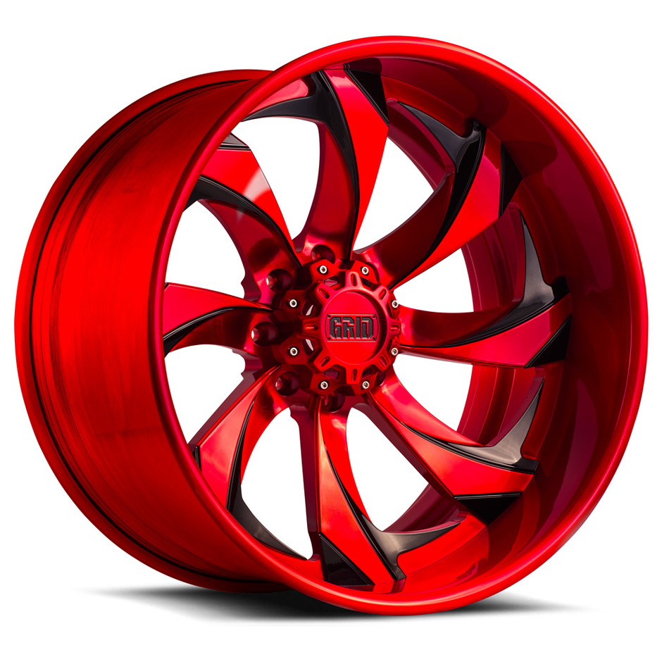 Grid Offroad GF4 Custom Red and Black Brushed Finish Wheels