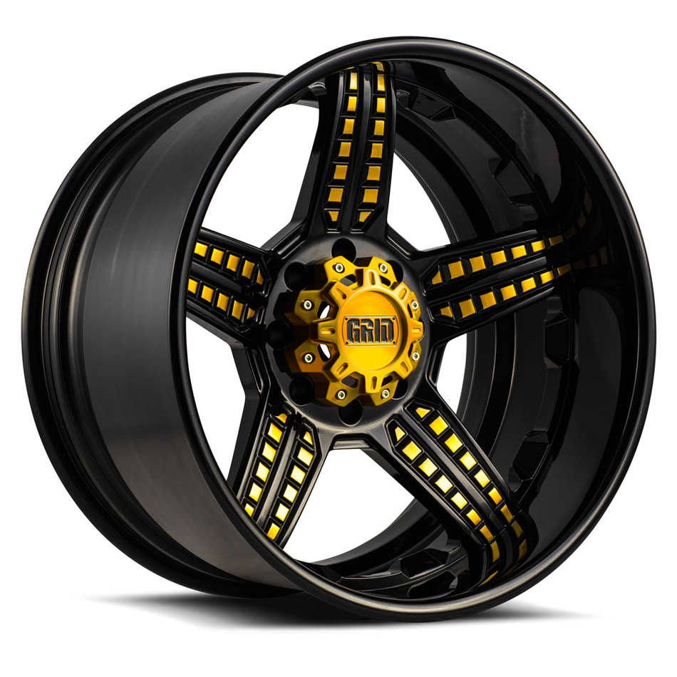 Grid Offroad GF5 Custom Gloss Black and Gold Accents Finish Wheels