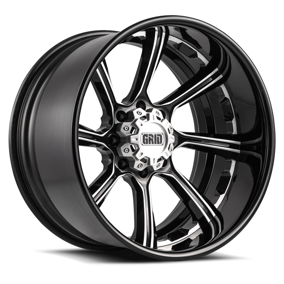 Grid Offroad GF8 Custom Gloss Black with Brushed Accents Finish Wheels