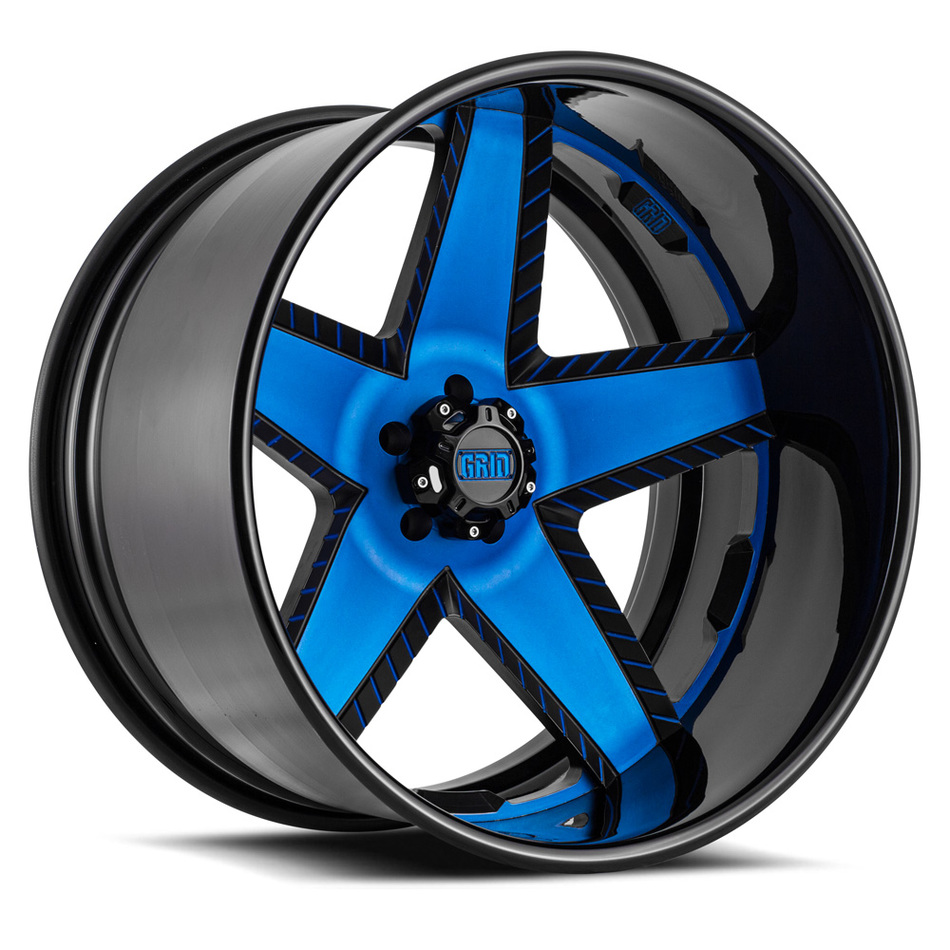Grid Offroad GF9 Matte Black with Blue Accents Finish Wheels