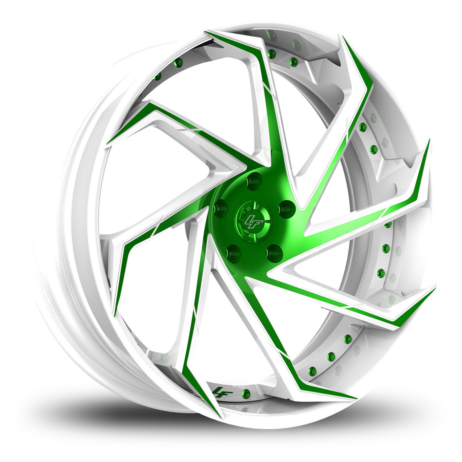 Lexani LF-117 Custom White and Green Finish Wheels