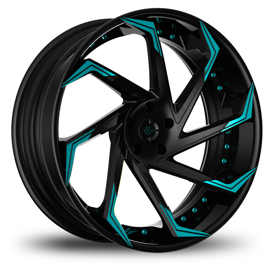 Lexani LF-117 Custom Black and Teal Finish Wheels