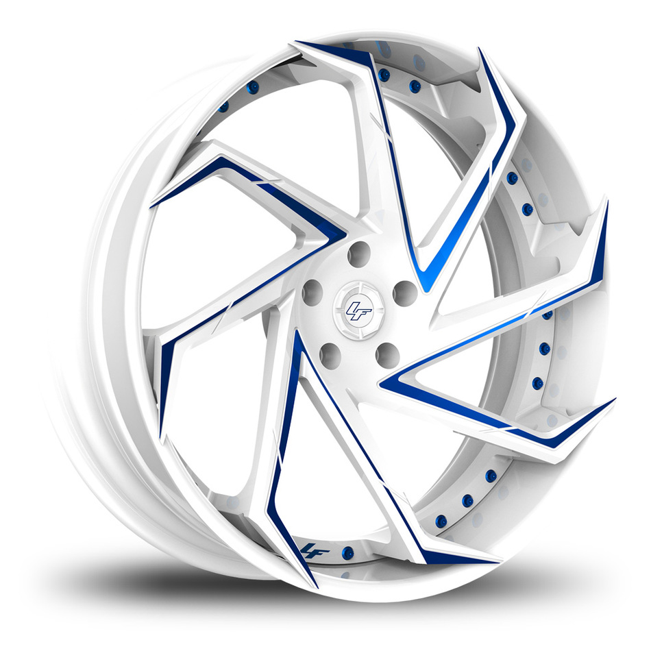 Lexani LF-117 Custom White and Blue Finish Wheels
