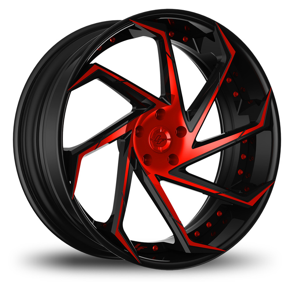 Lexani LF-117 Custom Black and Red Finish Wheels