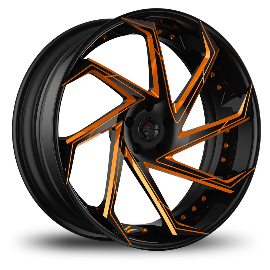 Lexani LF-117 Custom Black and Orange Finish Wheels