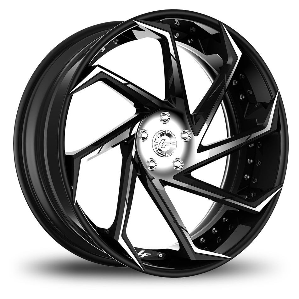 Lexani LF-117 Custom Chrome and Black Finish Wheels