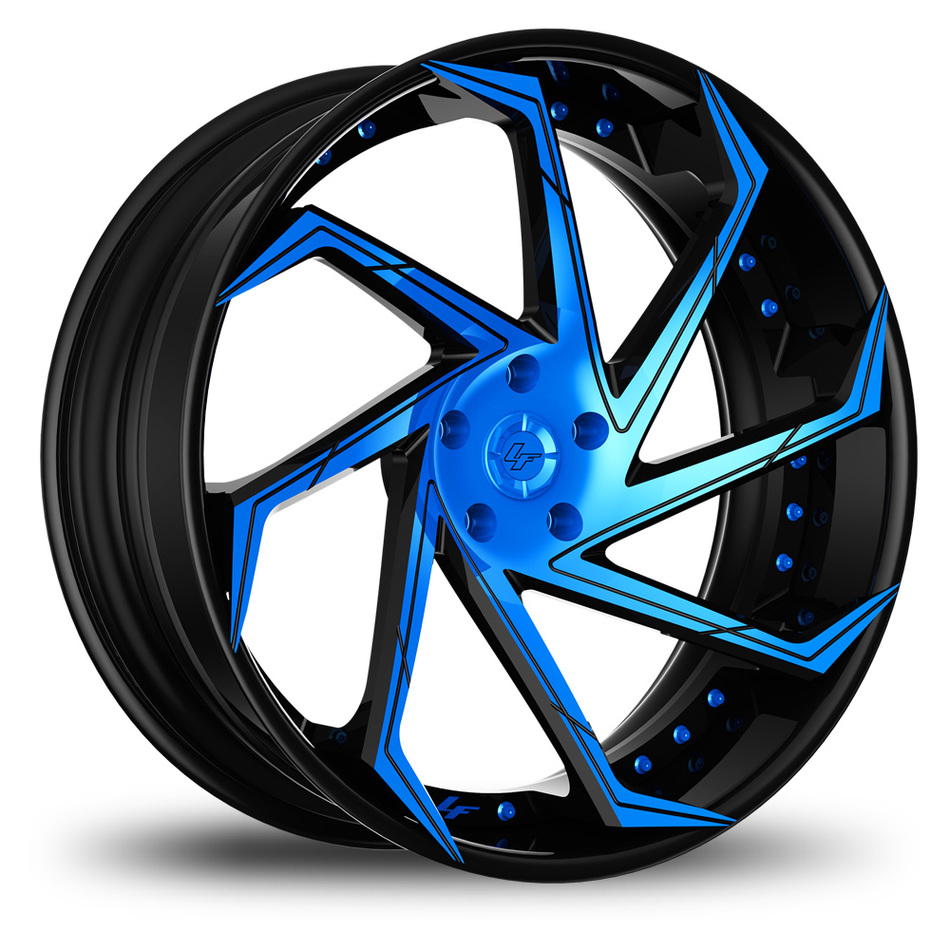 Lexani LF-117 Custom Black and Blue Finish Wheels