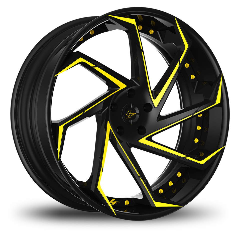 Lexani LF-117 Custom Black and Yellow Finish Wheels