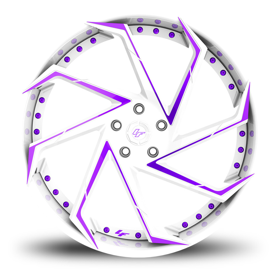 Lexani LF-117 Custom White and Purple Finish Wheels