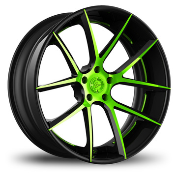 Lexani LF-118 Custom Black and Green Finish Wheels