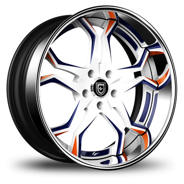 Lexani 752 Opal Custom White Blue and Orange Finish Wheels
