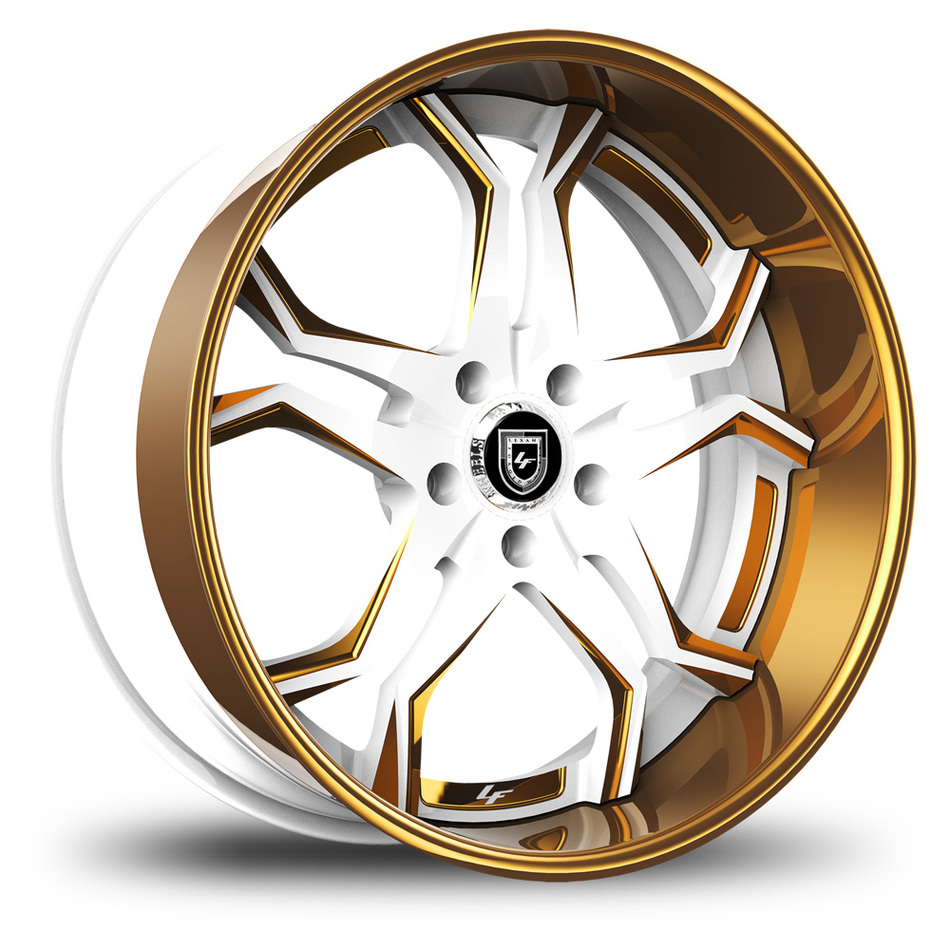 Lexani 752 Opal Custom White and Gold Finish Wheels