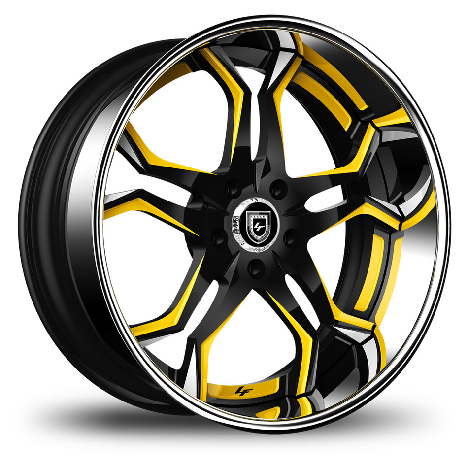Lexani 752 Opal Custom Black and Yellow Finish Wheels
