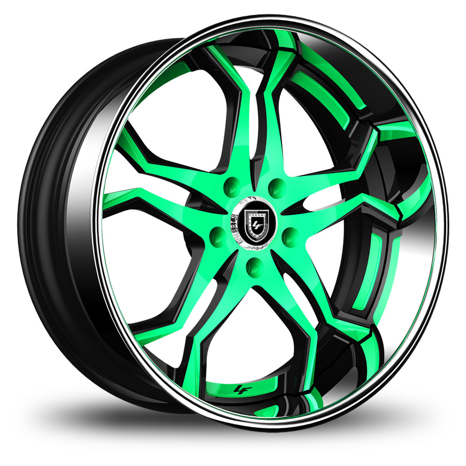Lexani 752 Opal Custom Teal and Black Finish Wheels