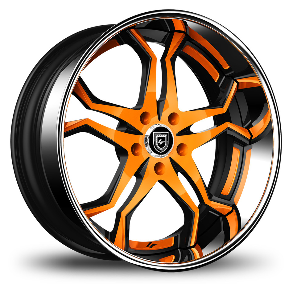 Lexani 752 Opal Custom Oange and Black Finish Wheels