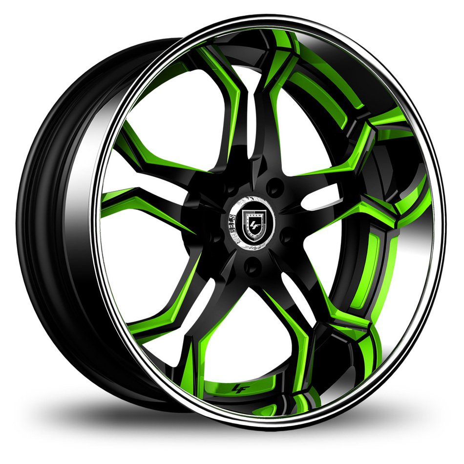 Lexani 752 Opal Custom Black and Green Finish Wheels