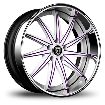 Lexani 751 Topaz Custom White and  Purple with SS Lip Finish Wheels