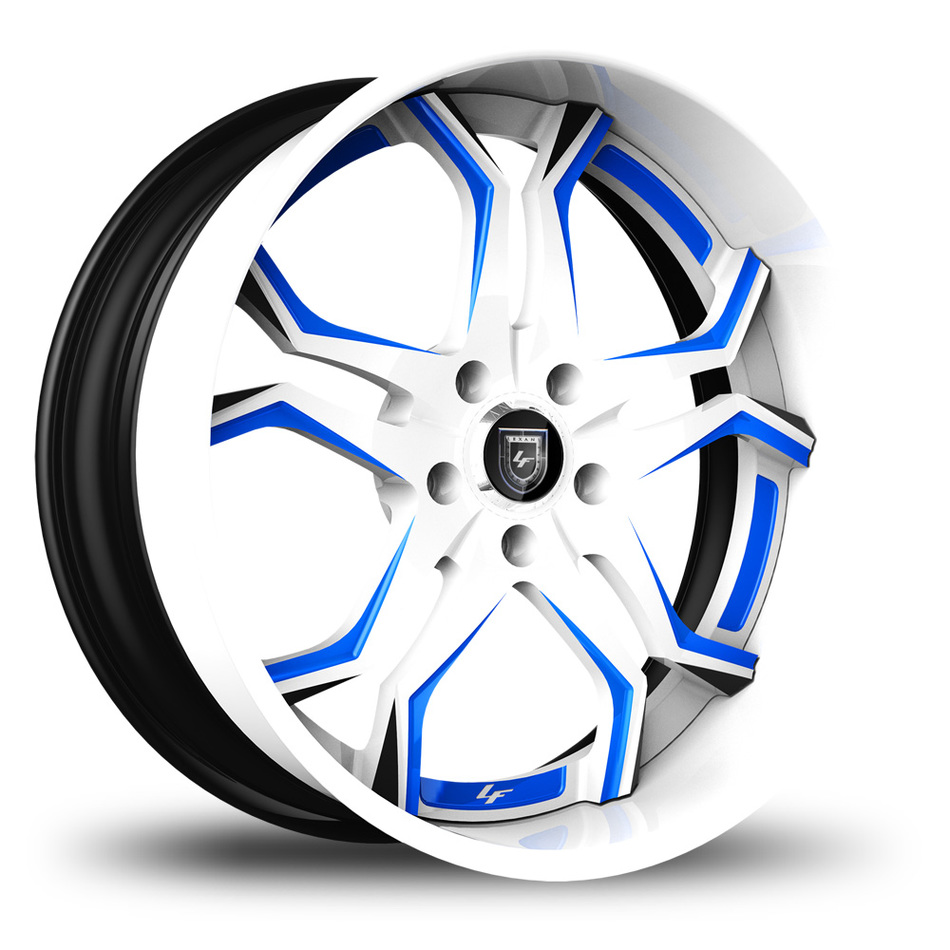 Lexani 752 Opal Custom White and Blue Finish Wheels