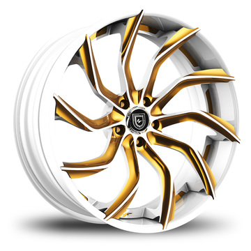 Lexani 753 Matiesse Custom White and Gold Finish Wheels