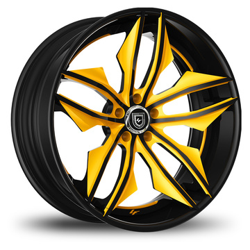 Lexani 754 Fuse Custom Black and Yellow Finish Wheels