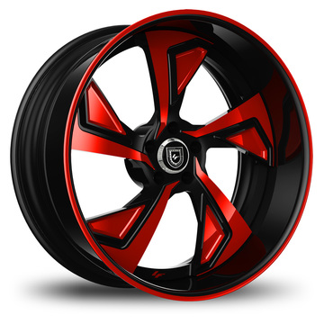 Lexani 756 Jade Custom Black and Red Finish Wheels