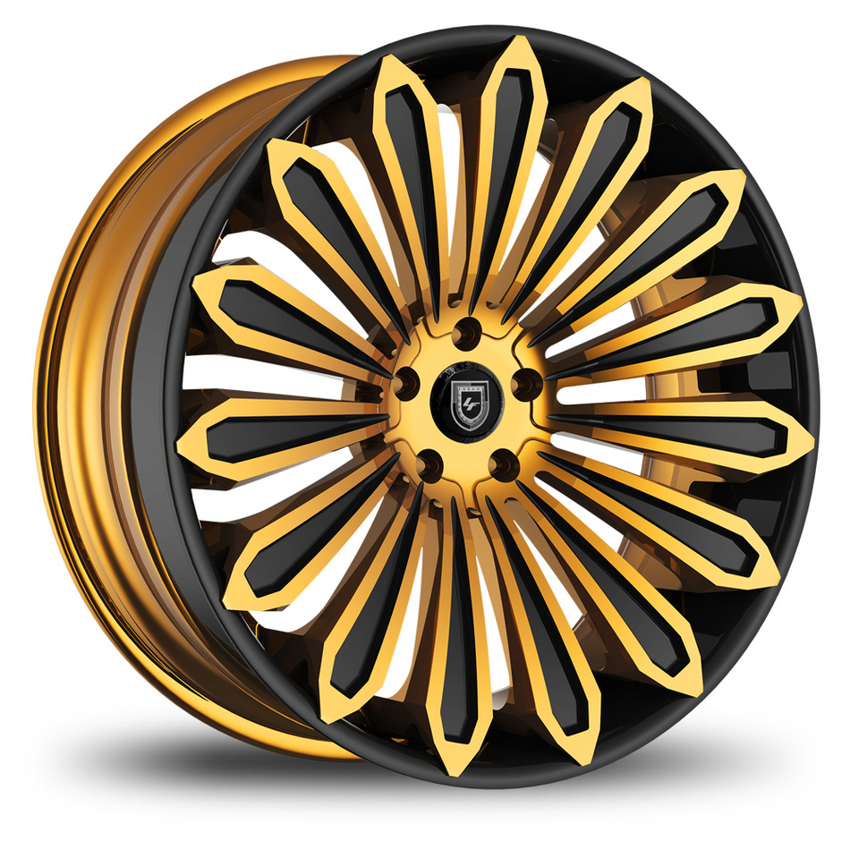 Lexani 757 Crypto Custom Black and Gold Finish Wheels