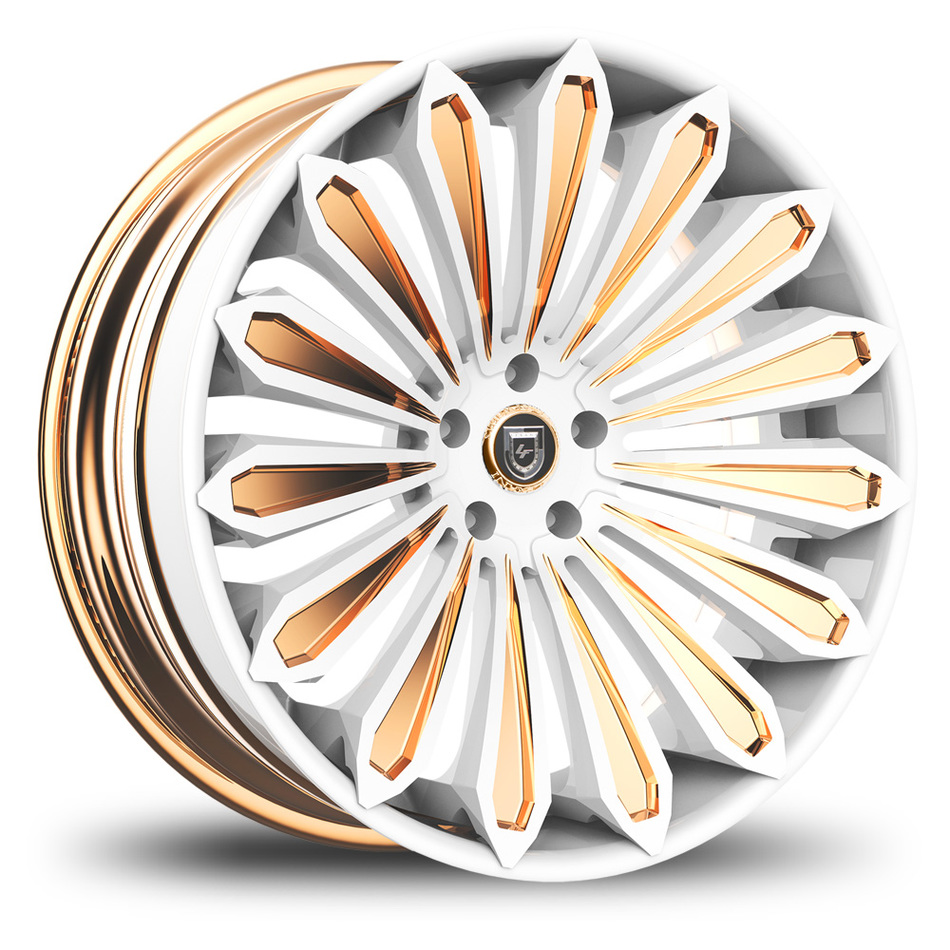 Lexani 757 Crypto Custom White and Gold Finish Wheels