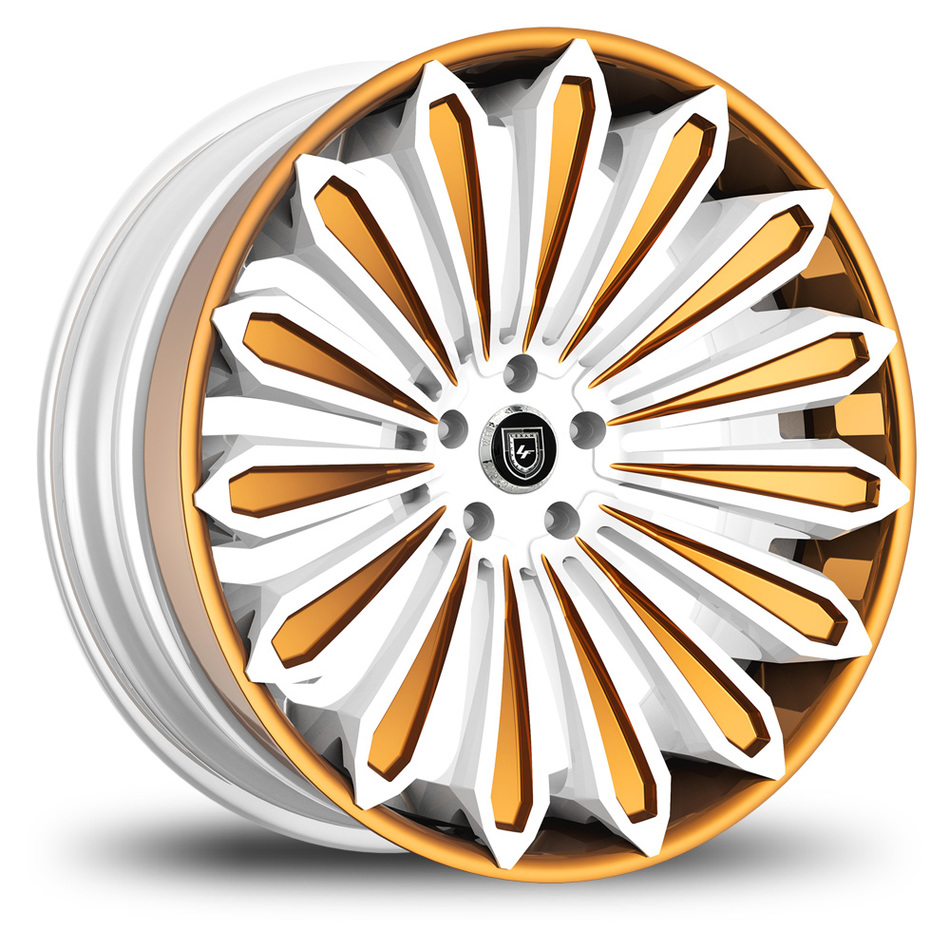 Lexani 757 Crypto Custom White and Copper Finish Wheels