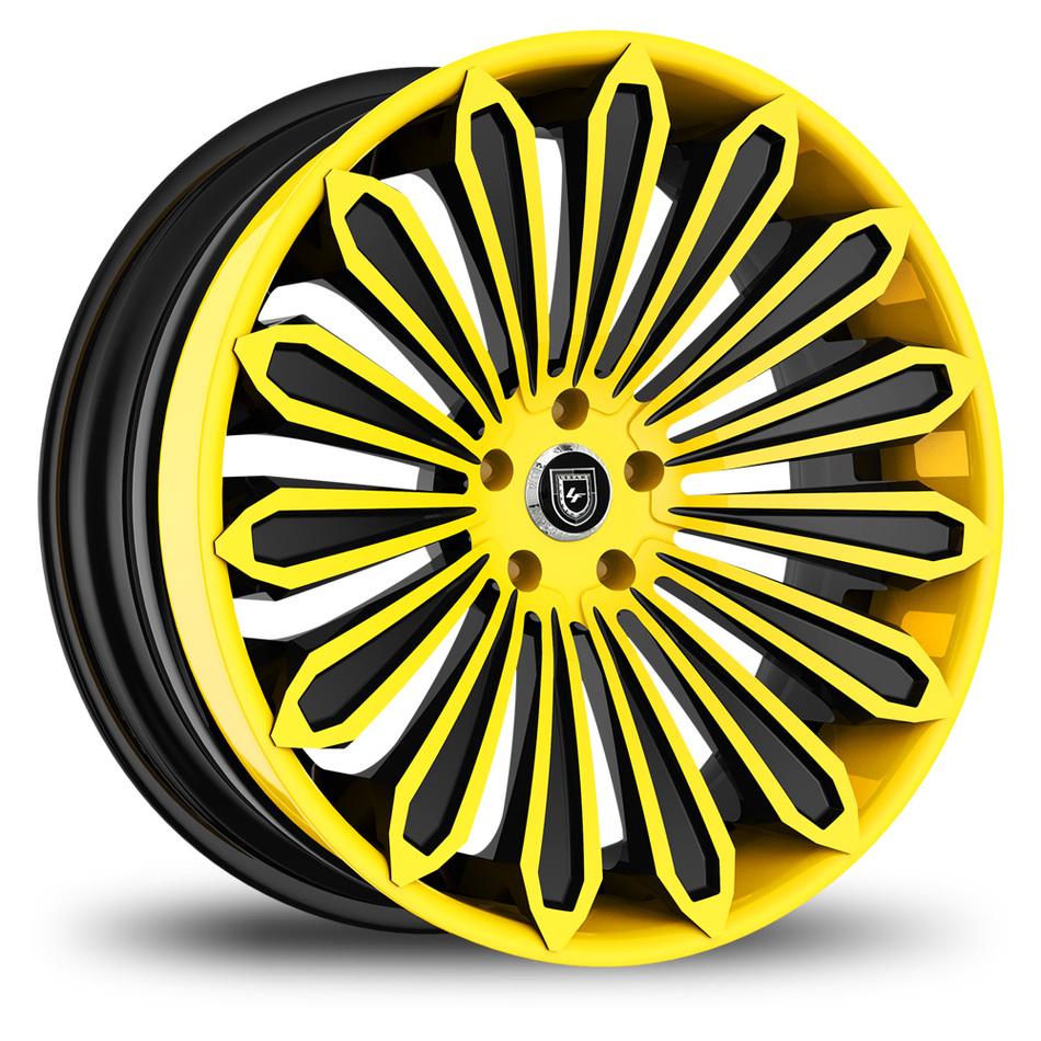Lexani 757 Crypto Custom Yellow and Black Finish Wheels
