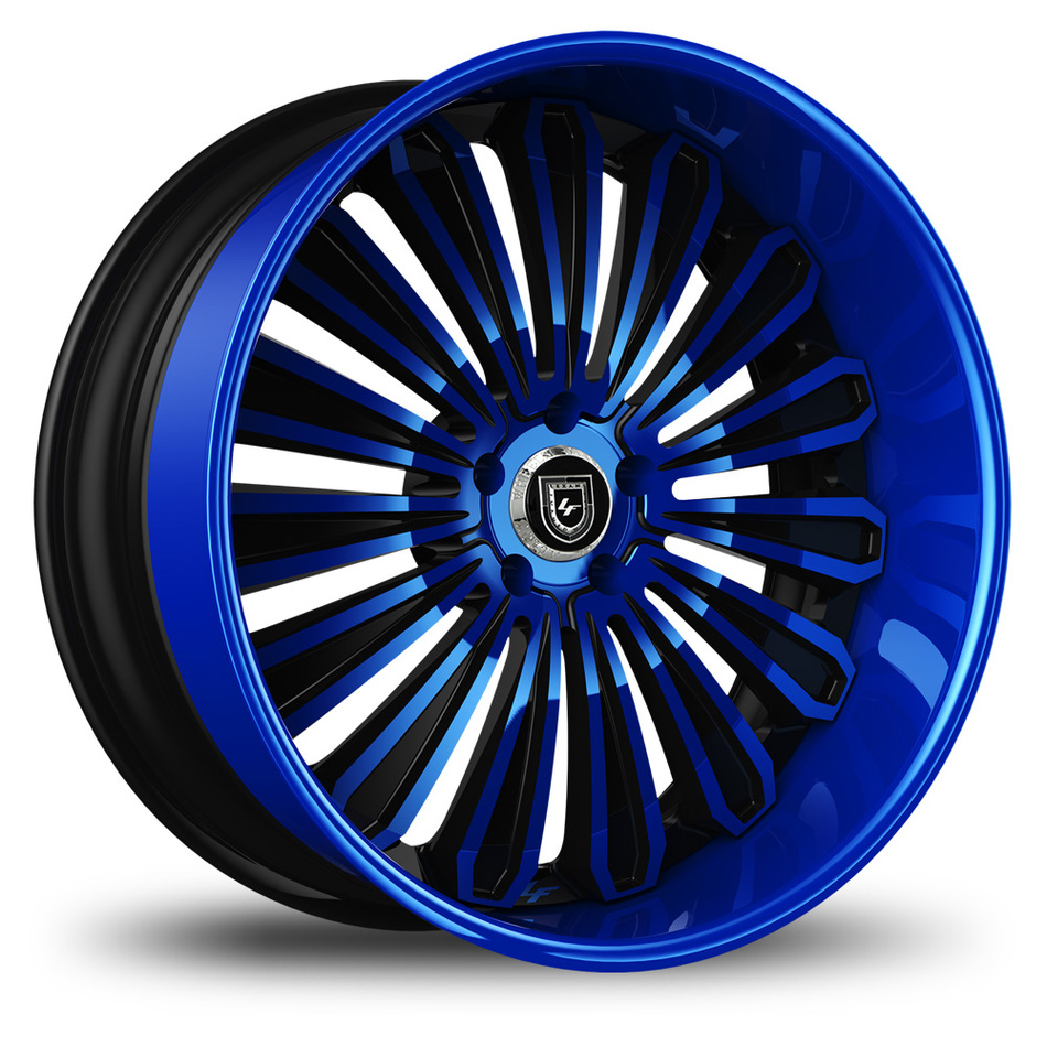 Lexani 757 Crypto Custom Blue and Black Finish Wheels