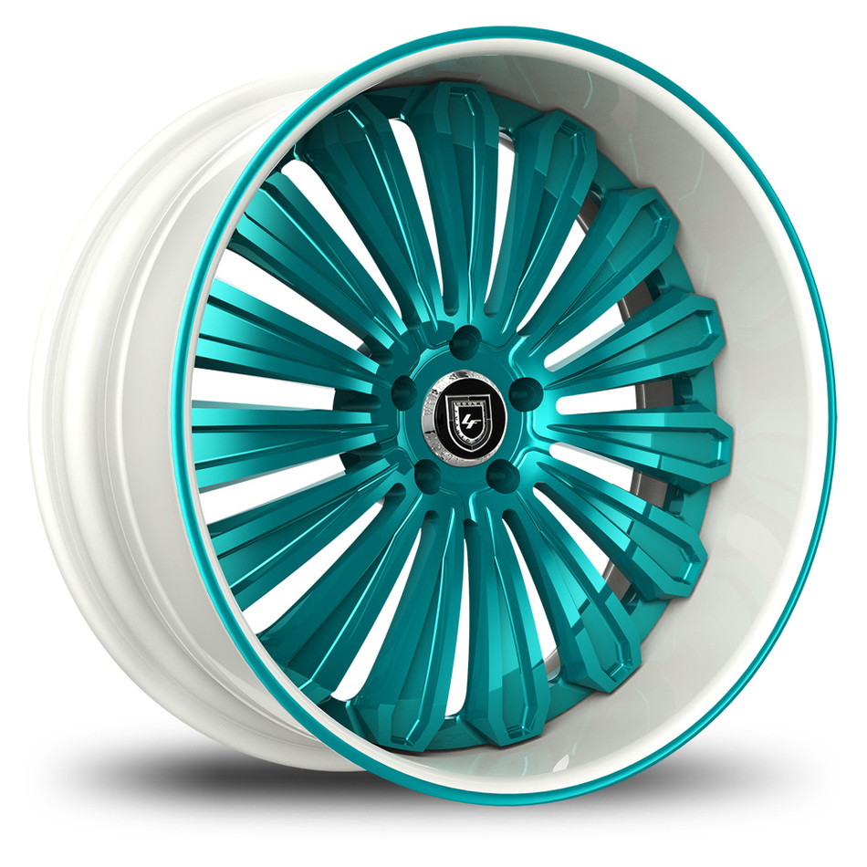Lexani 757 Crypto Custom White and Teal Finish Wheels