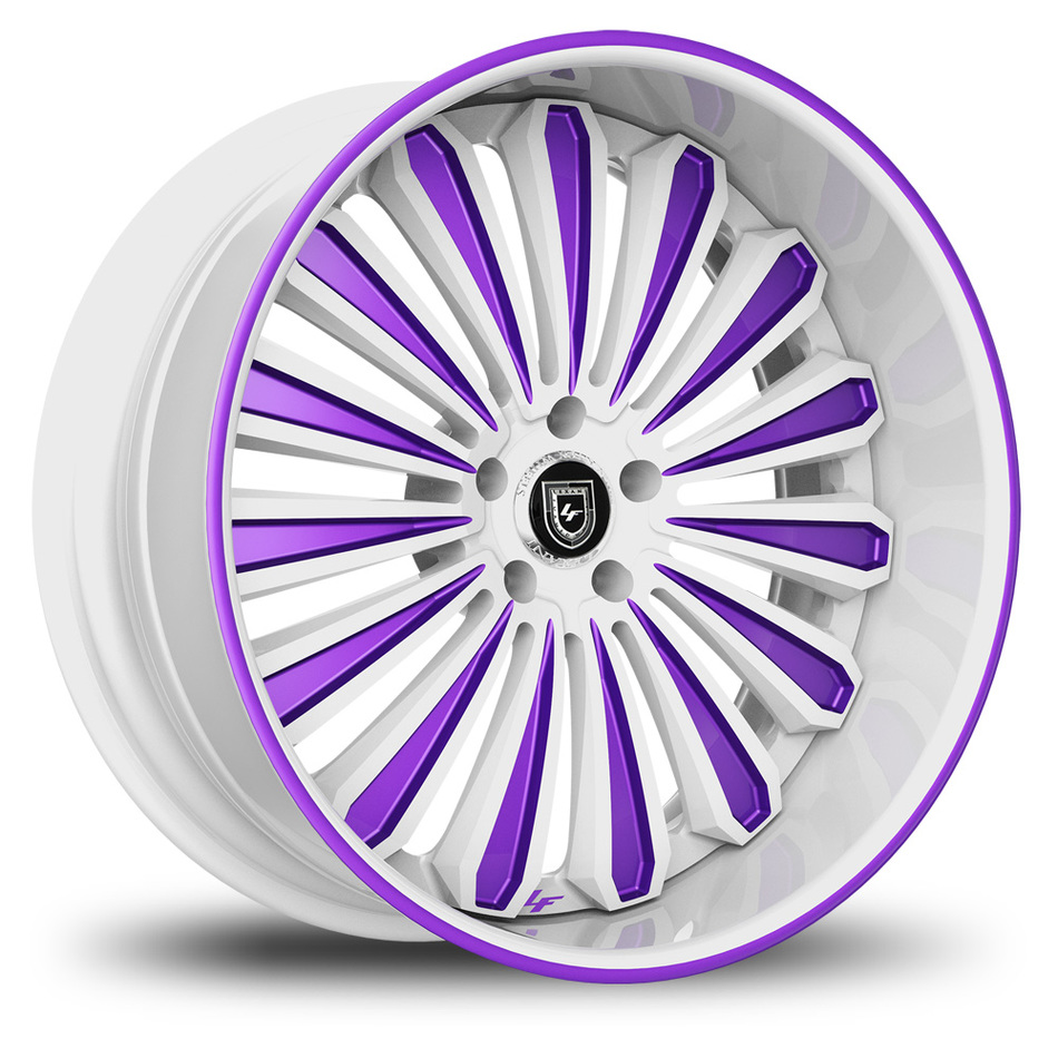 Lexani 757 Crypto Custom White and Purple Finish Wheels