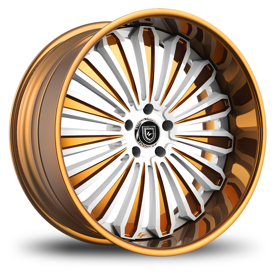 Lexani 757 Crypto White and Gold Finish Wheels