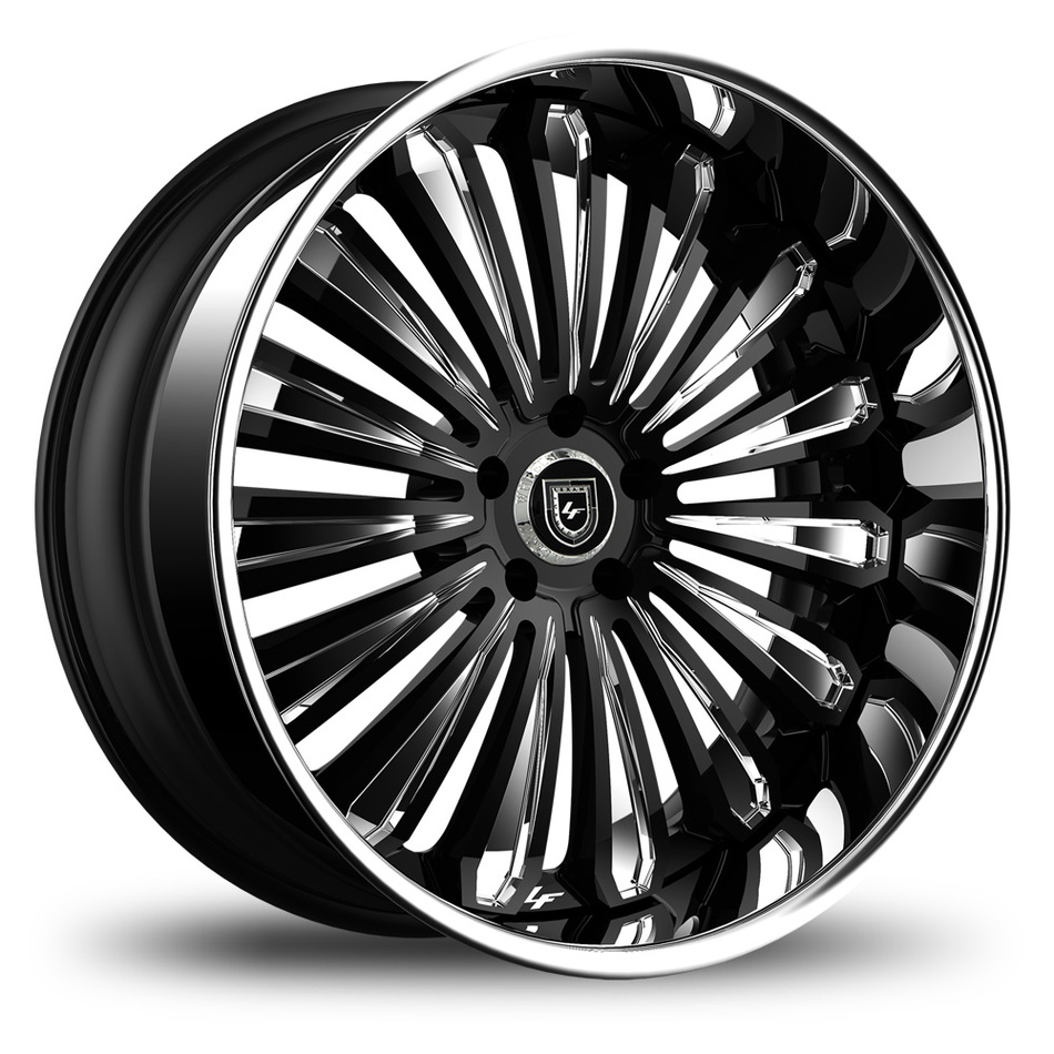 Lexani 757 Crypto Black and Chrome Finish Wheels