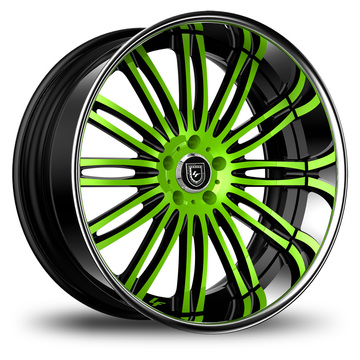 Lexani 758 Bison Custom Green and Black Finish Wheels