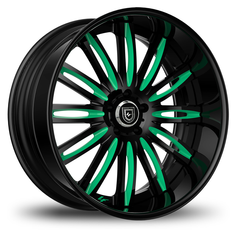 Lexani 758 Bison Custom Black and Teal Finish Wheels