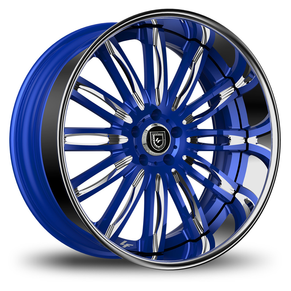 Lexani 758 Bison Custom Blue and Chrome Finish Wheels