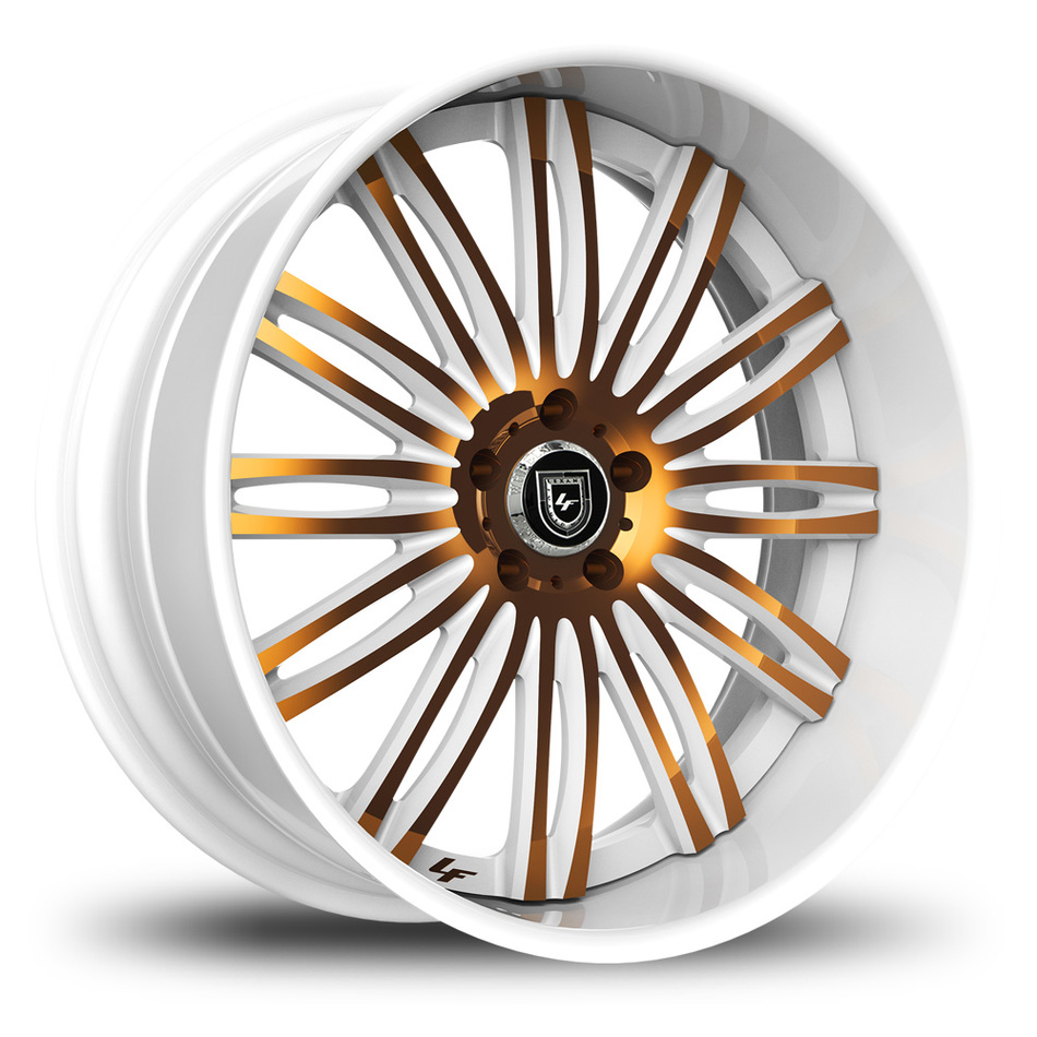 Lexani 758 Bison Custom White and Gold Finish Wheels