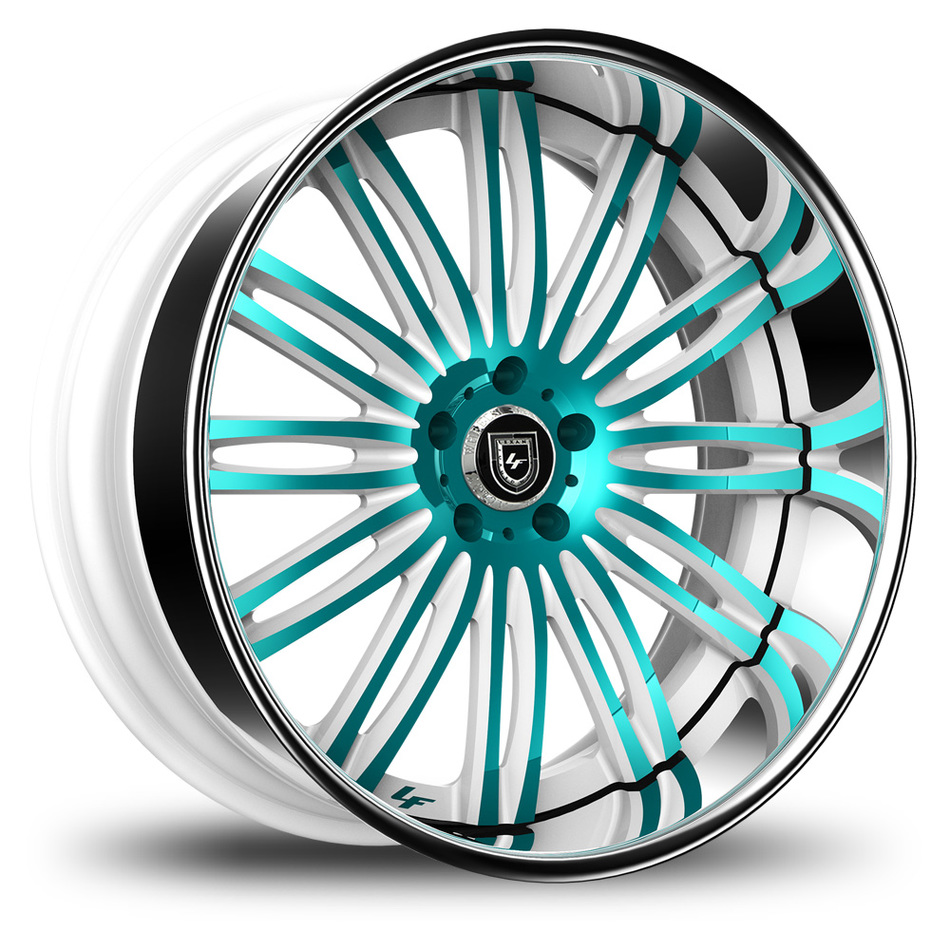 Lexani 758 Bison Custom White and Teal Finish Wheels