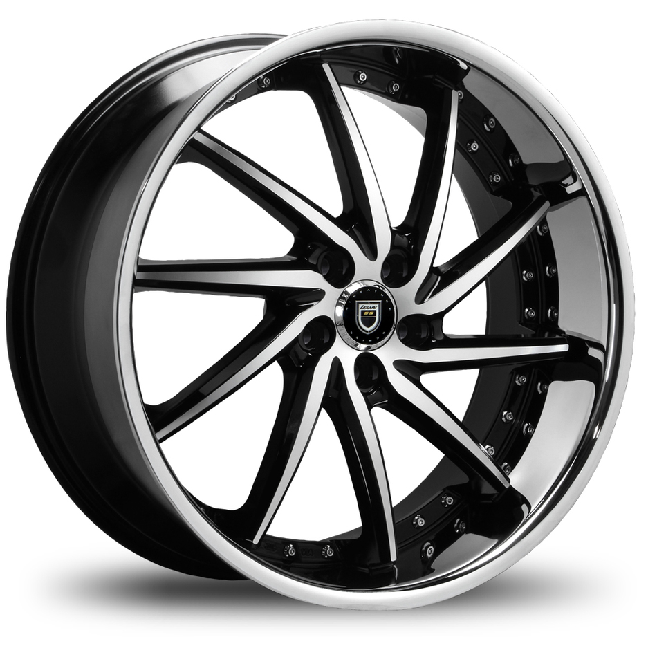 Lexani Artemis Machined and Black Face with Stainless Steel Lip Finish Wheels