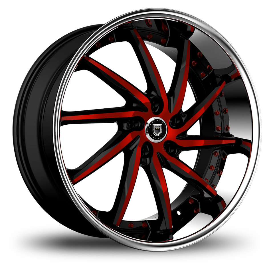 Lexani Artemis Black and Red Face with Chrome Lip Custom Finish Wheels