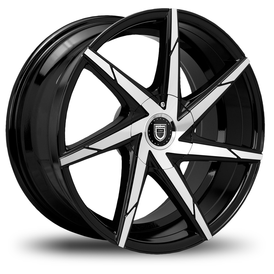 Lexani CSS-7 Gloss Black and Machined Face Wheels