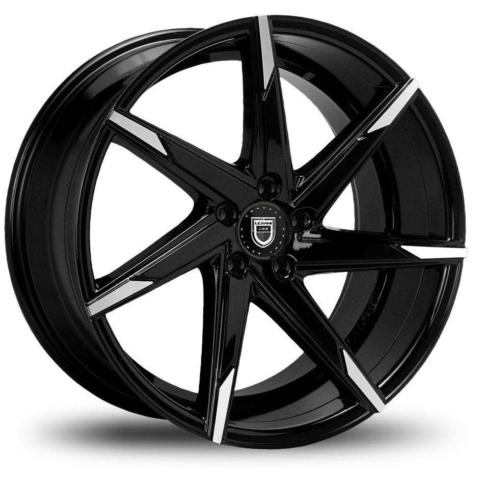Lexani CSS-7 Gloss Black with Machined Tips Wheels