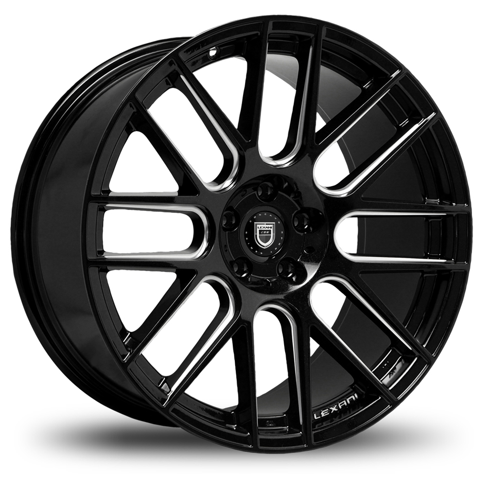 Lexani CSS-8 Gloss Black and Machined Grooves Wheels