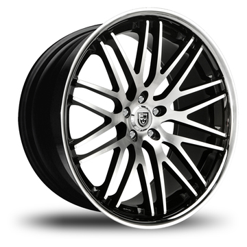 Lexani CVX-44 Black and Machined Face Stainless Steel Lip Wheels